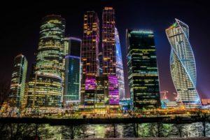 Москва Сити ночью фото